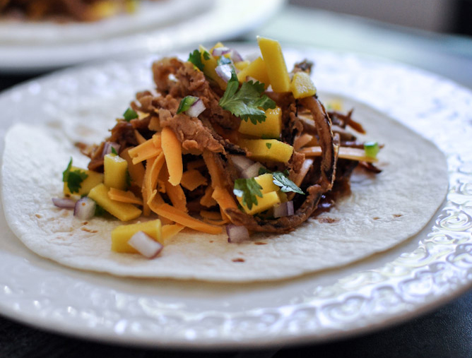 Crockpot BBQ Beer Pulled Pork Tacos with Crispy Onion Straws and Mango Salsa 4B