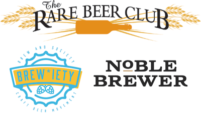 rare beer club, brewiety, and noble brewer logos